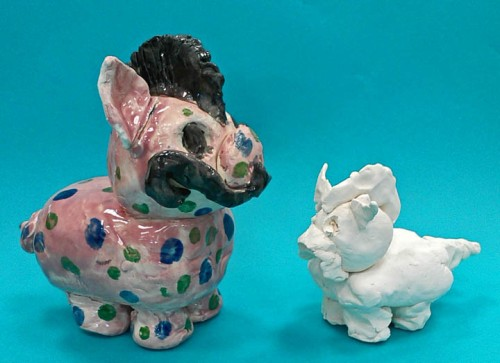 Fifth graders' pig-with-mohawk inspires a second grade replica