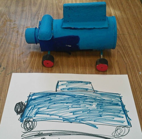 Fifth grade car design leads to a kindergartener's series of drawings