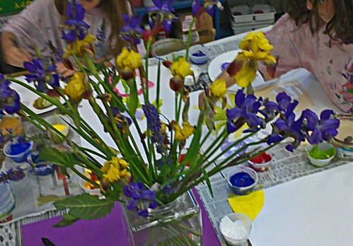 Irises from my garden inspire young painters
