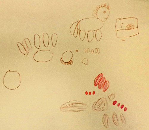 Kindergartener's illustration shows all the pieces needed to create a dough-donkey.