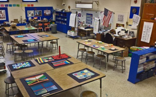 The classroom is set up like a gallery for our WOW Faire.