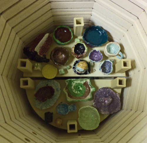 The kiln is loaded with glazes pieces going through a second firing.