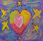 Kindergarten oil pastel drawing