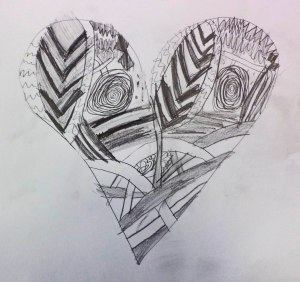 Zentangle heart drawing by a third grader