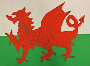A third grade boy was so engaged with the flag of Wales that he continued during recess and brought it back to show his art teacher at the end of the day.