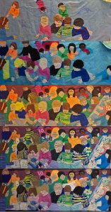 The mural was painted in stages, during weekly art classes, while students continued their other artmaking activities.