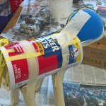 Papier-mâché sculpture begins with an armature made of recycled materials.