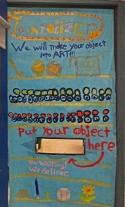 A sign on the door shows where to donate objects.