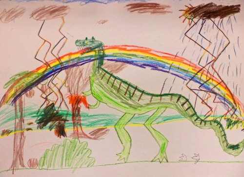 First grader's interpretation of T-Rex from observation of a plastic model.