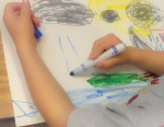 Students choose their own ideas to draw.