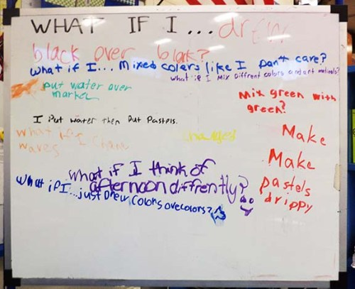 Students share their What If questions on the white board.