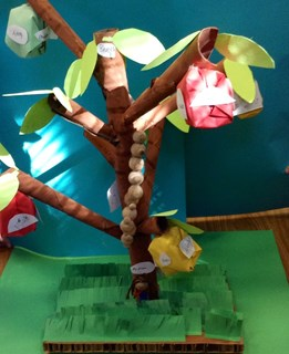 The classroom tree with Origami apples, leaves and names of all the children in the class.