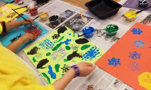 Lower grades painted on objects and printed them on color paper.