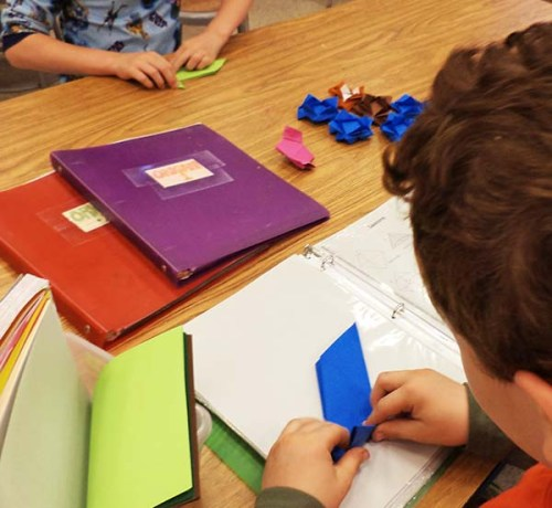 Certain students become obsessed with Origami as is this 2nd grader who chooses it every week. His skills are rapidly growing!