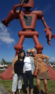 Roni Rohr, Mary Olson and I standing outside Santa Fe's Meow Wolf installation